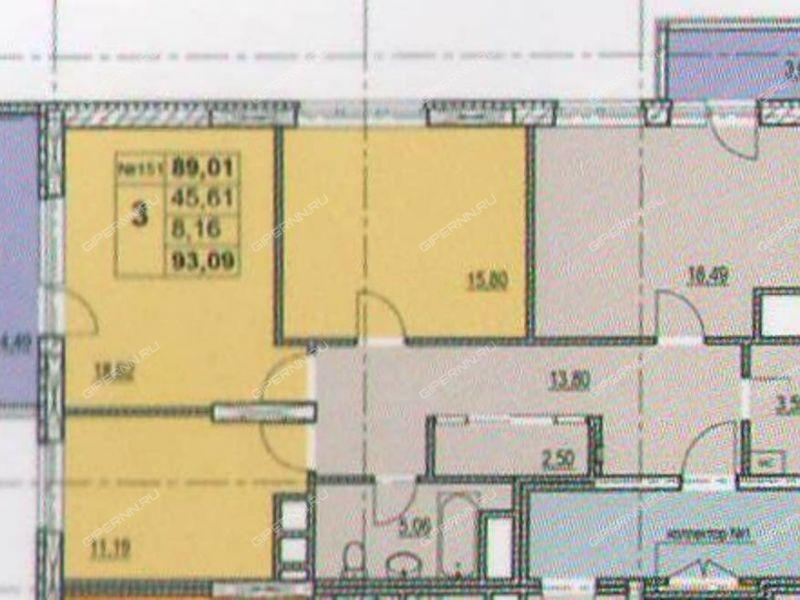 трёхкомнатная квартира в новостройке на жилой дом №1 (по генплану) по улице Профинтерна